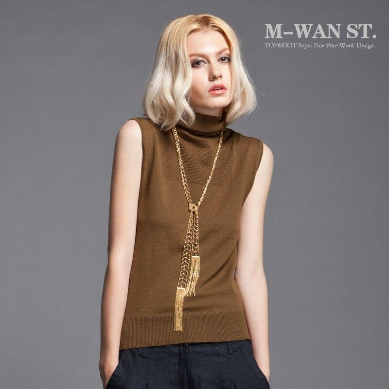 Ladies' All match Sleeveless Turtleneck Sweater Female Basic ...
