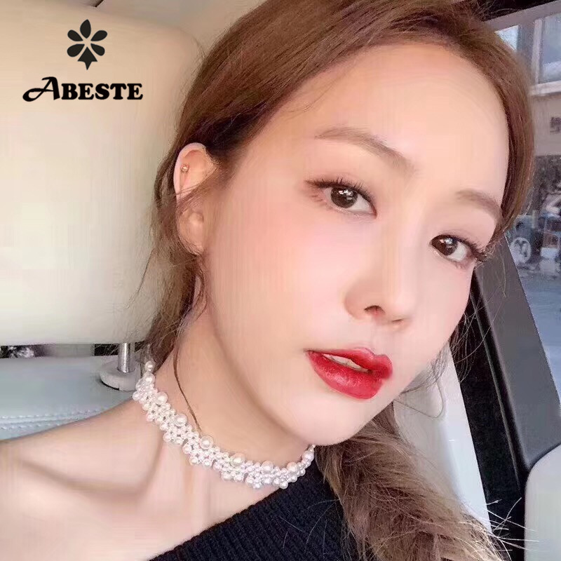 ANI Handmade Women Choker Natural Freshwater White Pearl Necklace fine Engagement Jewelry collier perle Fashion Design colares