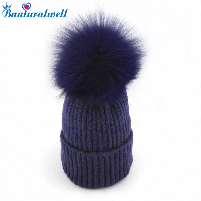 Bnaturalwell Real Fur pompoms Hat Kids Winter Warm Fox Fur Hat For Children Girls Boys Beanies Cap Child Knitted hat H029 candy 11 color child winter knitted hat autumn winter warm pointed hat boys girls warm children cap kids windmill cap beanies