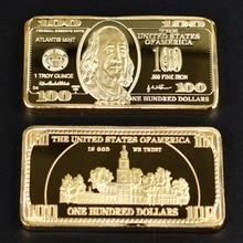 Gold Bullion 100 Dollar Bar Bill Pure Plated Metal Commemorative Coin