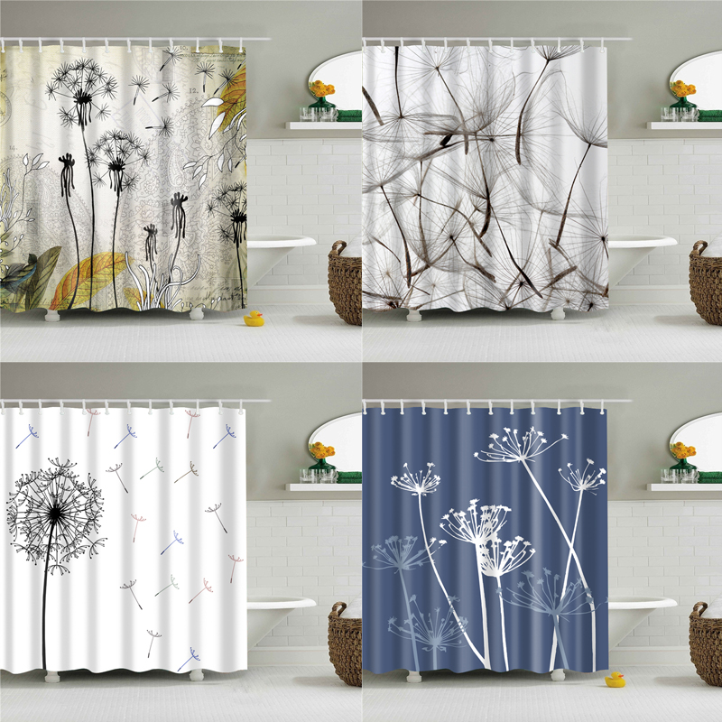 Waterproof Polyester Fabric Bathroom Shower Curtain Home Decor With 12 Hooks