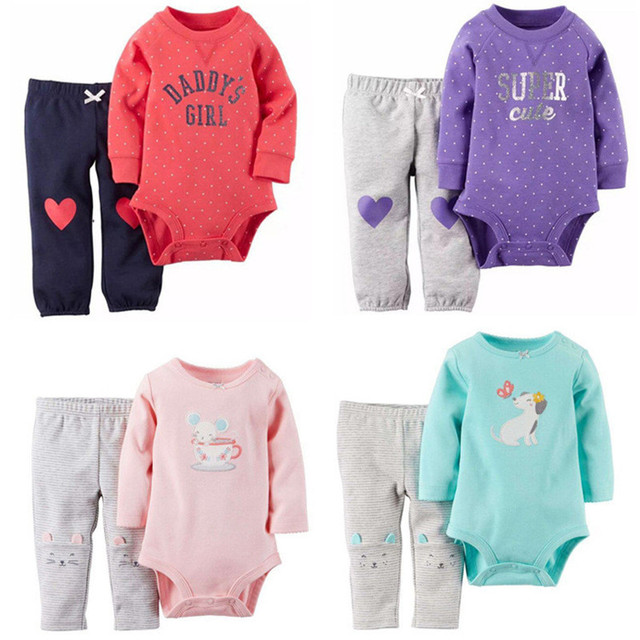 2pcs / Pack Baby Sets Long-sleeved Bodysuits + Pants Baby Boys Girls Cartoon Dot Striped Clothing Suit Kids Clothes 2016 V49
