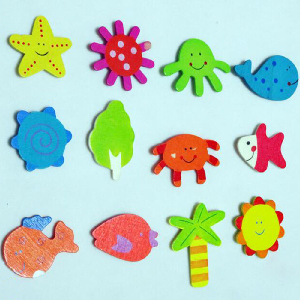 12 шт. деревянные животных Магниты на холодильник для маленьких детей раннего детства Игрушечные лошадки для детей