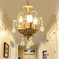 Free Shipping Brass Color Crystal Pendant Lamp Light AC90 V 240V Dining Room Modern Brief Contemporary Restaurant Pendant Light