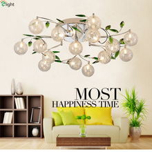 Modern Minimalism Aluminium & Clear Glass Lampshades G4 Led Ceiling Chandelier Unique Green Crystal Leaf Pastoral