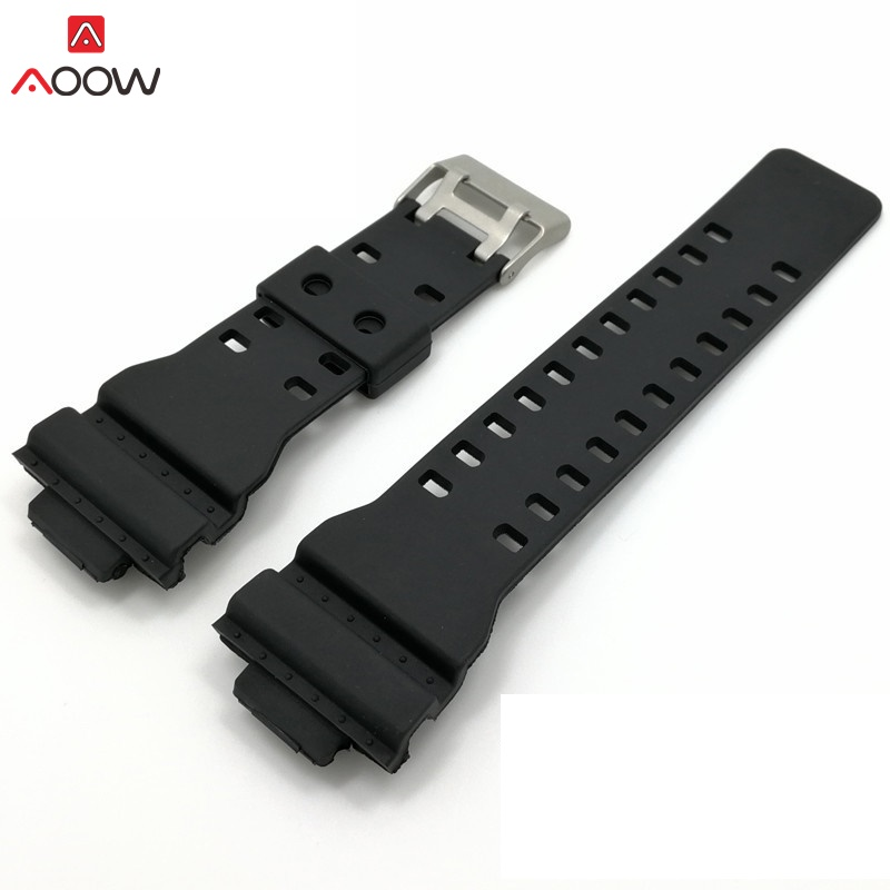 лучшая цена AOOW 16mm Watchband Silicone Rubber Watch Band Strap Fit For Casio G Shock Replacement Black Waterproof Watchbands Accessories