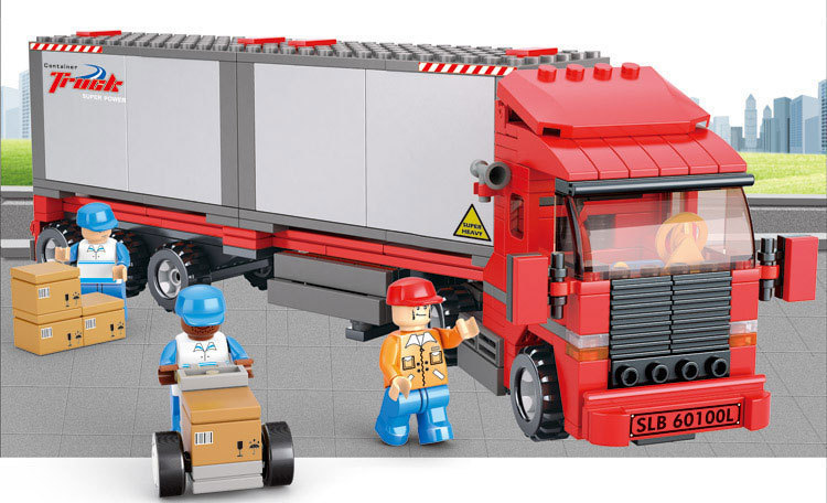 Building Block Sets Compatible with lego traffic container truck 3D Construction Brick Educational Hobbies Toys for Kids
