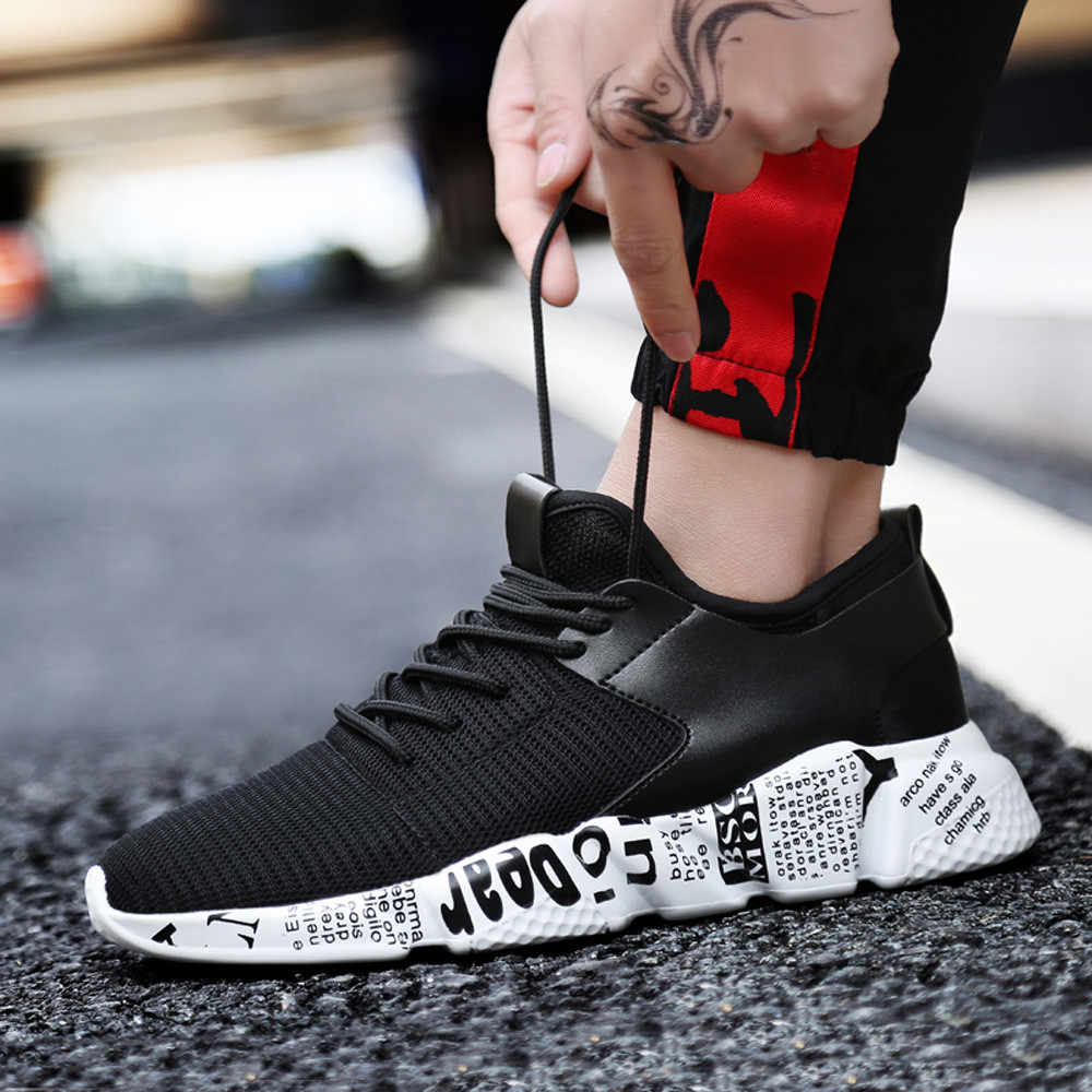 KANCOOLD woven men women mesh breathable casual shoes male laces sneakers unisex couple running shoes solid color cushioning