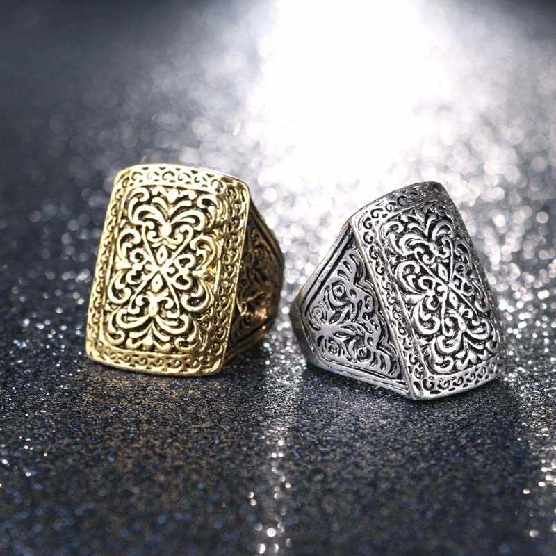 Caliente 2016 Vintage joyería grandes anillos antiguos para hombres Color plata lujo fantástico regalo