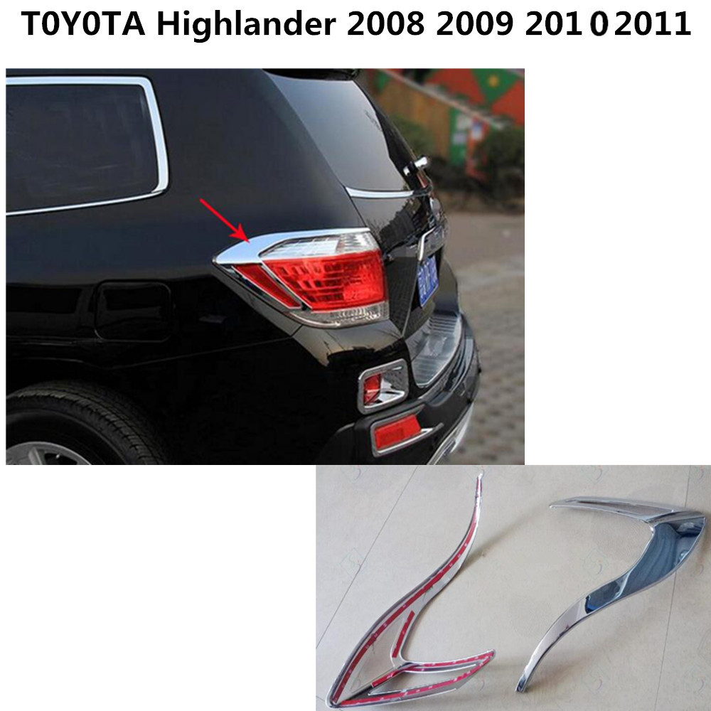 For Toyota Highlander 2008 2009 2010 2011 car styling body Rear back Light lamp frame stick ABS chrome cover trim switch 2PCS