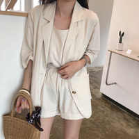 3 Piece Sets Women 3/4 Sleeve Notched Blazer Suits Camis Wide Leg Shorts Blazers Female 2020 Summer Solid Office Lady Casual Set