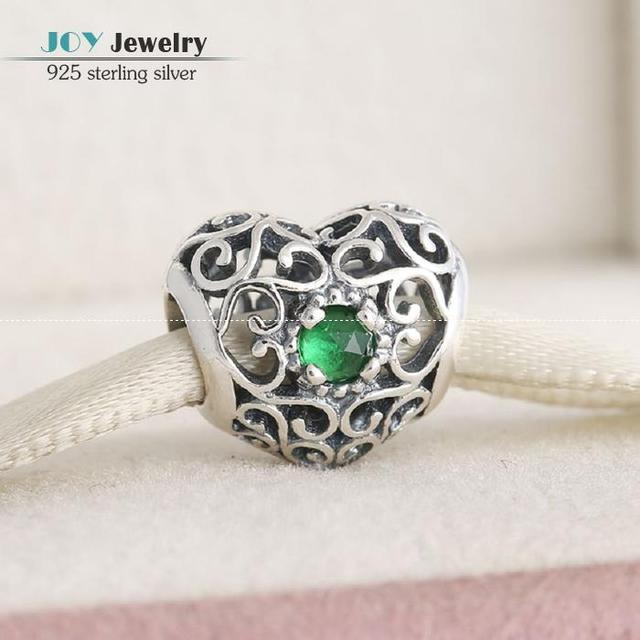 May Signature Birthstone Charm Beads Fit European Bracelets Diy 925-Sterling-Silver Openwork Heart Charm With Crystal For Women