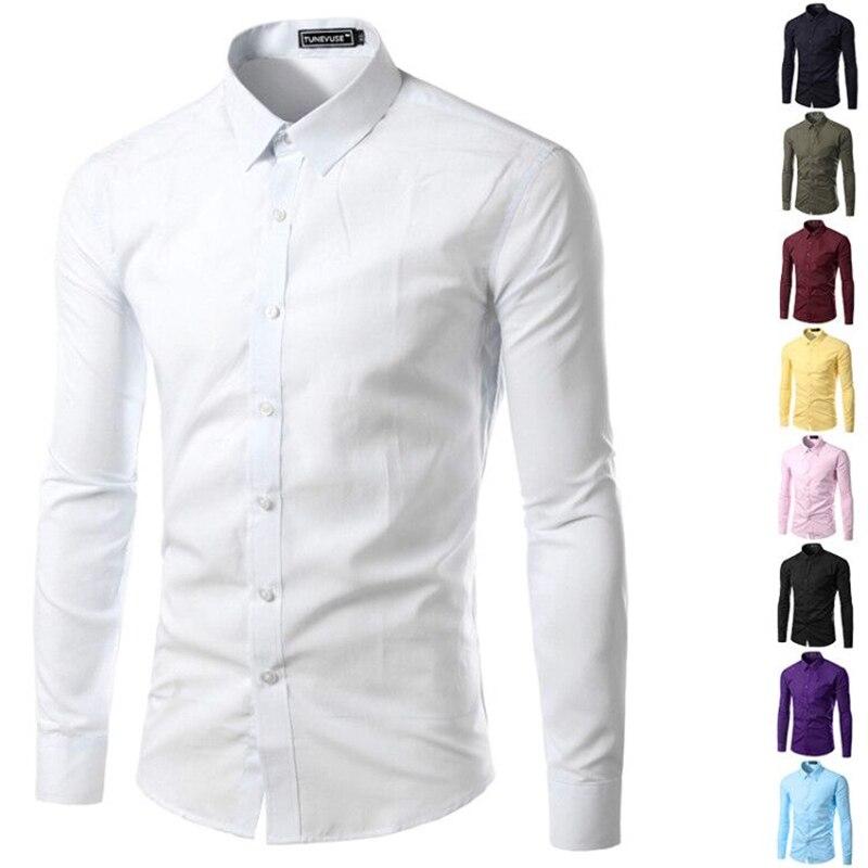 78e0925621 Brand New Mens Shirt Long Sleeve Slim Fit Clothing Solid Man Dress Shirts  Vestidos Camisa Social