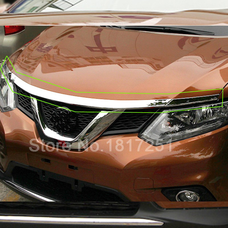 For Nissan X-Trail T32 Rogue 2014 2015 2016 Chrome Front Hood Grill Cover Bonnet Trim Car Styling Accessories 3pcs for nissan x trail xtrail t32 rogue 2014 2015 2016 abs chrome front engine machine grille upper hood stick lid trim lamp 1