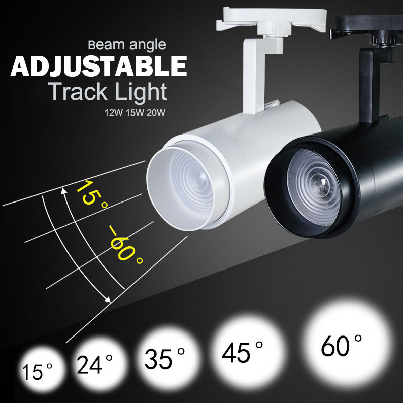 LED Track Light 12w 15w 20w Beam Angle Adjustable Ceiling Rail lights For Pendant Kitchen Clothes Shop Shoes Store RailsLED Track Light 12w 15w 20w Beam Angle Adjustable Ceiling Rail lights For Pendant Kitchen Clothes Shop Shoes Store Rails