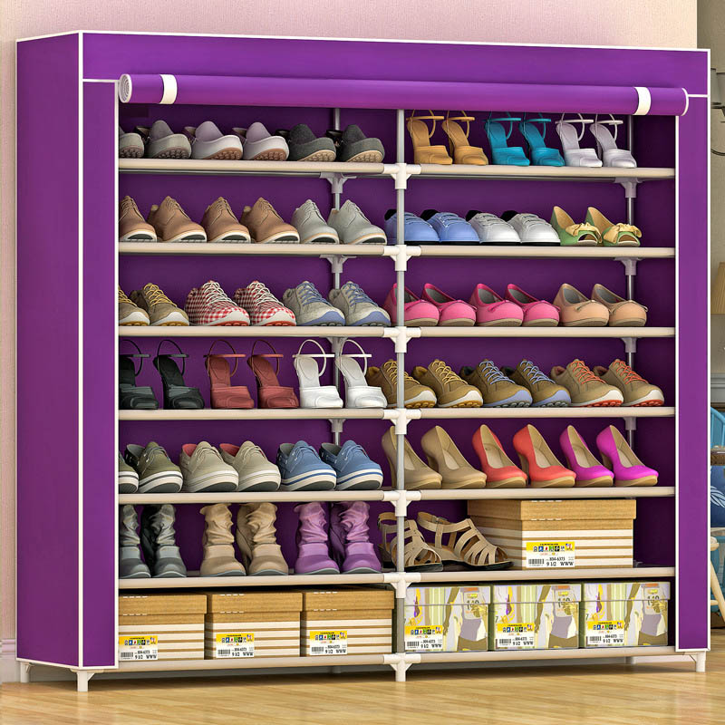 High-capacity double-row 14 shoe shoe thickened stainless steel non-woven shoe rack can be freely assembled home furniture 4 layers of simple dust proof moisture proof shoe rack thick non woven stainless steel shoe free assembly of home furniture