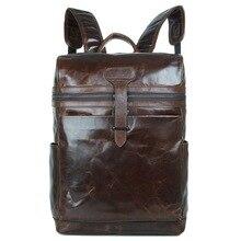 High Class 100% Genuine Leather Backpack Men Travel Backpack Real Leather School Bag Weekend Bag Cowhide Coffee Bolsas J7342