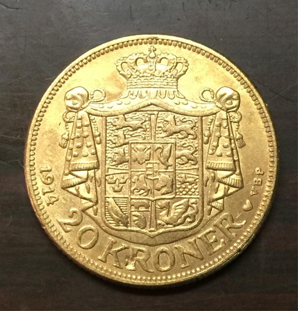 1914 Denmark 20 Kroner 22K Gold Plated Copy coin ( Type 2)