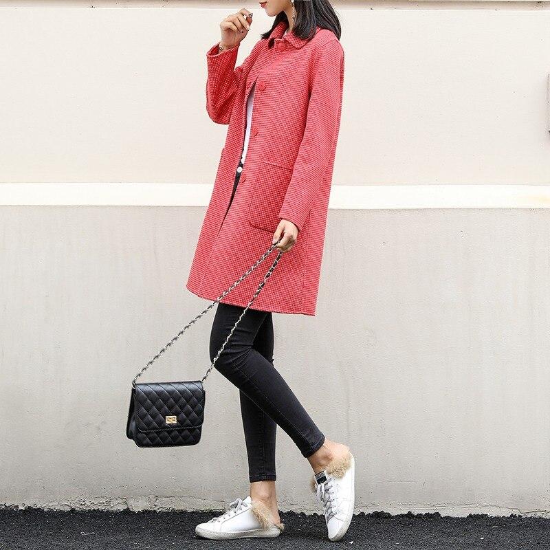 Nuovo doppio sided cashmere cappotto in primavera del 2019 100% cappotto di lana per le donne cappotto a quadri rosso di lana cappotti giacca lunga di inverno - 3