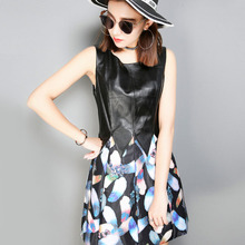Top Brand New Women Genuine Leather Patchwork Floral Printed Sarafan Summer Dress Punk Bodycon A Line Party Sleeveless Dresses
