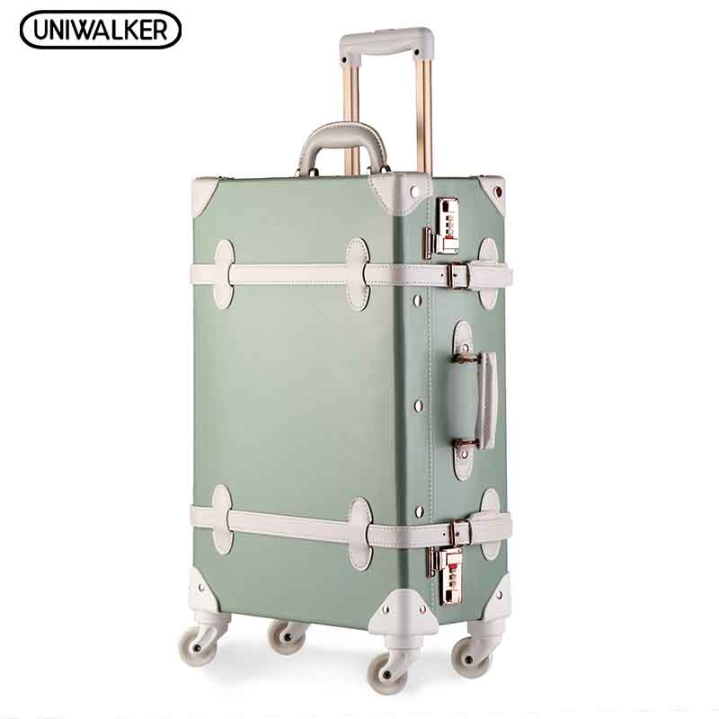 UNIWALKER 20 - 26 Vintage Luggage,Password Lock Suitcase,Universal Wheels Trolley,PU Leather,Retro Luggage Bags 20 26 dark green vintage suitcase pu leather travel suitcase scratch resistant rolling luggage bags with universal wheels