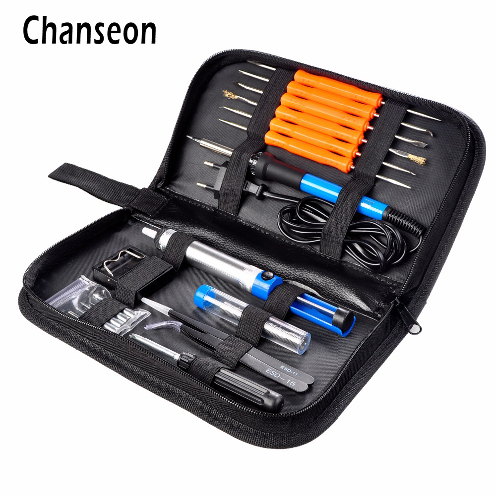 EU Plug 220V 60W Adjustable Temperature Electric Soldering Iron Kit+5pcs Tips+Tweezers Solder Wire Portable Welding Repair Tool 60w 220v electric adjustable temperature welding solder 5pcs iron tips led helping hand stand clip magnifier