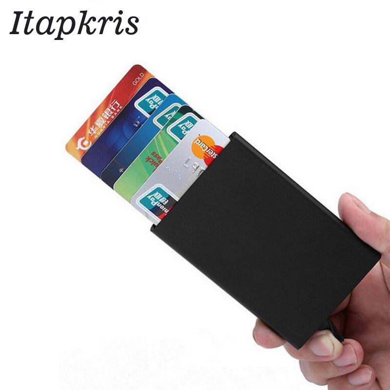 Itapkris Automatic Pop Up Credit Card Holder Cover High Quality Business Aluminum Card Wallet Travel Cash Clip Holder Cardholder