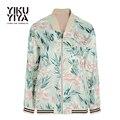 YIKUYIYA 2017 Outono Casual Chic Mulheres jaqueta Bomber Floral Verde Imprimir Bomber Jackets Zipper Voar Em Linha Reta Suave Outwear Fino