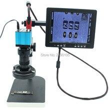 Big sale 1080P HD Microscope Camera HDMI USB outputs+ 130X C-mount Lens+LED Light+holder+8″ HD LCD Monitor Industrial microscope camera