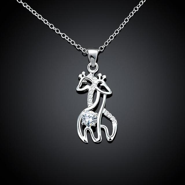 monogram dp com personalized animal charm giraffe initial amazon necklace