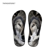 ee6a5b18a Twoheartsgirl Cool Gray Printed Wolf Beach Flip Flop for Women Comfortable  Femme Home Slippers Designer Rubber