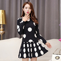 2016 autumn winter 2 piece set women point knitted sweaters and skirts female conjunto feminino short e blusa-female set B0318