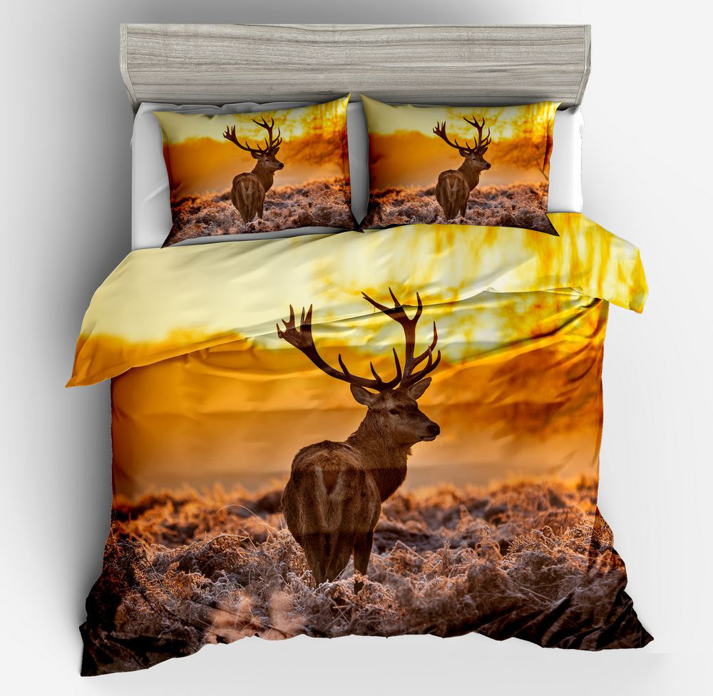 Christmas Gift Deer 3D Digital Printed Duvet Cover Pillowcase Set Single Double Bed Twin Queen King