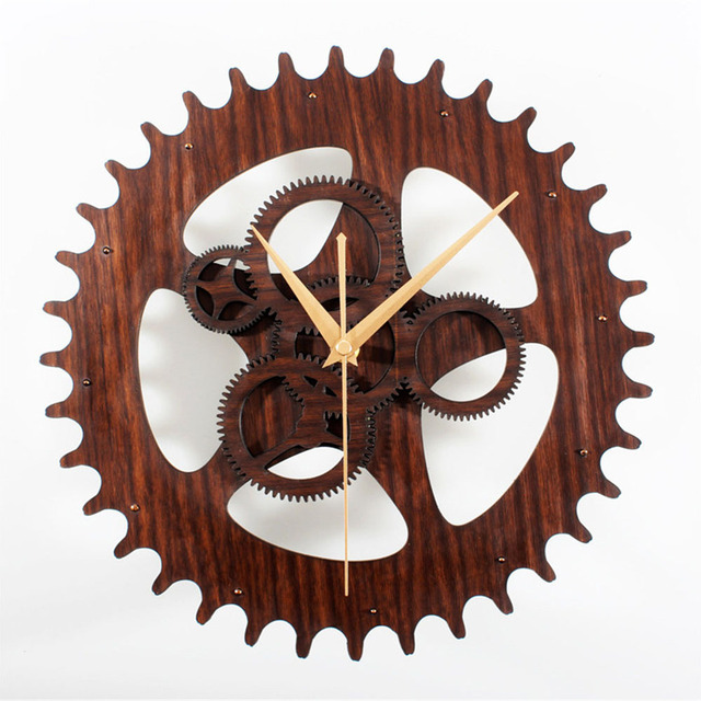 Industrial Gear Wall Clock Advanced Vintage 3D Retro Large Art