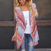 decbf2368379 Plus tamaño de verano de las mujeres chaqueta niña Boho de punto a rayas  abrigos prendas de manga larga suéter flojo ropa Vintag.