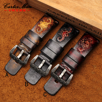 Men S Retro Genuine Leather Watchband 28mm Excellent Tree Cream Watch Band Strap For SF Friday