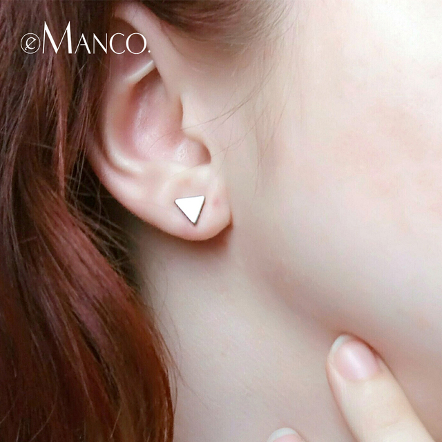 e-Manco Really 925 Sterling Silver Stud Earrings for Women Geometric Triangle Sh