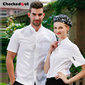 Free Shipping Cook suit short-sleeve chef uniform checkedout short sleeve chef clothes working clothes