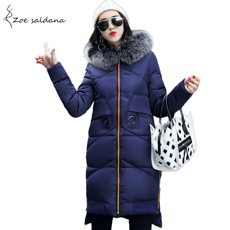 Zoe Saldana 2017 Winter Wadded Jacket Women Thick Warm Faux Fur Hooded Long Cotton-padded Jacket Slim Parkas Winter Coat zoe saldana 2017 winter wadded jacket women thick warm faux fur hooded long cotton padded jacket slim parkas winter coat