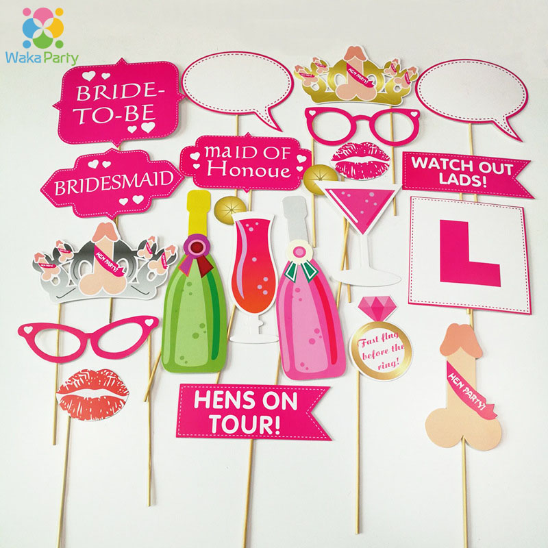 Bachelorette Hen Party Photo Booth Props DIY Kits Girls Night Out Wedding Bridal Shower Decorations Game Photo Shoot Favor Gifts