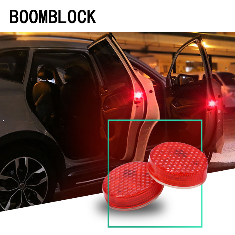 BOOMBLOCK 2pcs Car Door Strobe Warming Lights 5 LED Sticker For Saab Chevrolet Cruze VW Passat B5 B6 B7 Toyota Corolla 2008 RAV4