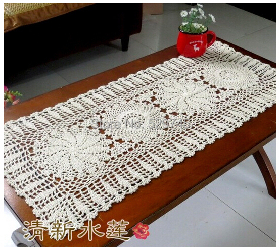 New Chrismas Gift Handmade Crochet Flowers Tablecloth Cotton Coffee Table Runner Doilies Sofa Towel Furniture Cover