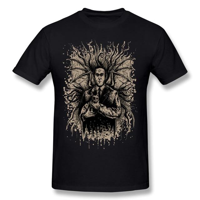 2016 Moda Manga Curta Lovecraft e Felis t-shirt dos homens Venda Quente 100% Algodão t-shirt para homens