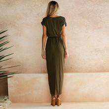 ELSVIOS 6 Colors Sexy Summer Dress Lady Outfit High Split Casual Long Maxi Dress Solid Women's Retro Dresses With Belt Vestidos
