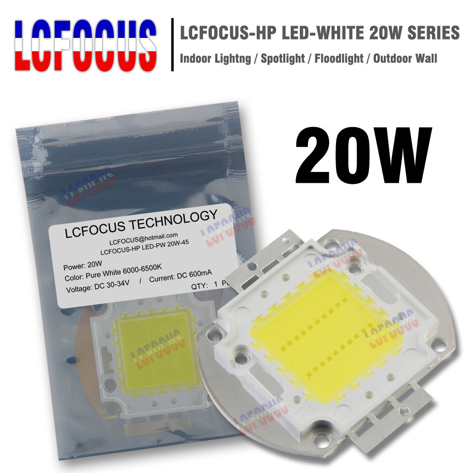 High Power LED Chip 20W Natural Cool Warm White 3000K 4000K 6000K 10000K 20000K 30000K SMD COB For DIY Outdoor Wall Foodlight 5pcs lot free shipping e27 12w 12 1w par 38 led bulb lamp light 85 256v with 12 leds light warranty 2 years ce