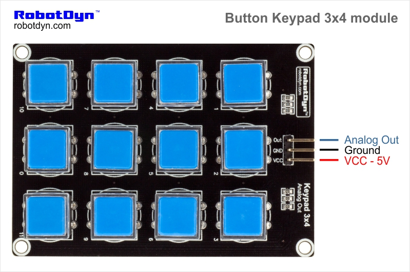 نتيجة بحث الصور عن ‪Keypad 3x4 With Buttons module wiring‬‏