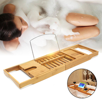 Bamboo Bathtub Tray Shower Wine Glass Book Holder Bathtub Rack Support Bathroom Storage Organization Bath Accessories