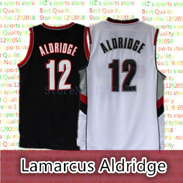 4917caf48 Portland Rip City 12 Lamarcus Aldridge Retro Basketball Jersey Black White  Top Quality Embroidery Name Number logo Jersey