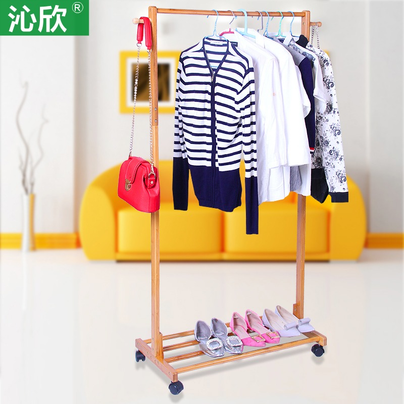 Minimalist bedroom floor coat rack hanger wood hanger coat rack fashion creative single rod Specials