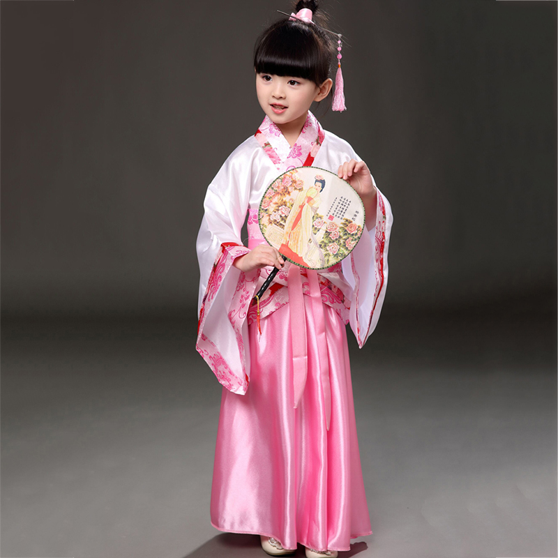 Children Chinese Traditional Hanfu Fairy Dress Girls Ancient Chinese Costume Stage Woman Tang Clothing Kid Folk Costumes DN2120